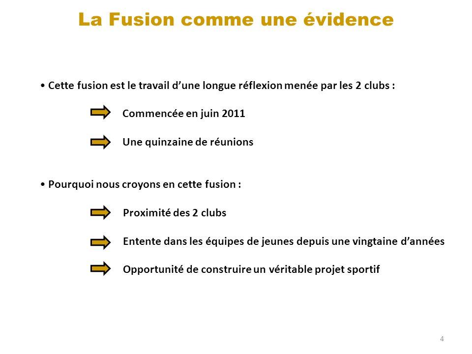 4 La Fusion comme une évidence Cette fusion est le travail dune longue réflexion menée par les 2 clubs : Commencée en juin 2011 Une quinzaine de réuni