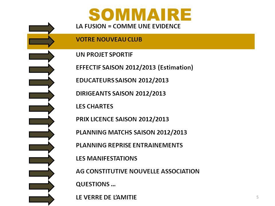LA FUSION = COMME UNE EVIDENCE 5 SOMMAIRE VOTRE NOUVEAU CLUB UN PROJET SPORTIF EFFECTIF SAISON 2012/2013 (Estimation) EDUCATEURS SAISON 2012/2013 DIRI