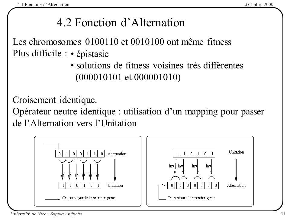 11Université de Nice - Sophia Antipolis 03 Juillet 2000 4.2 Fonction dAlternation Les chromosomes 0100110 et 0010100 ont même fitness Plus difficile : Croisement identique.