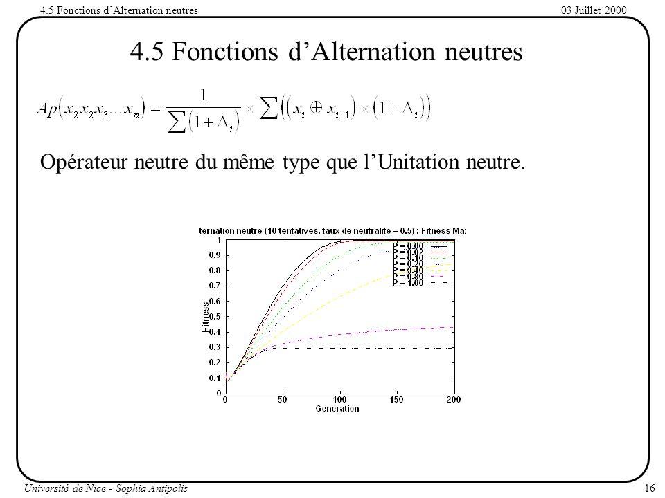 16Université de Nice - Sophia Antipolis 03 Juillet 20004.5 Fonctions dAlternation neutres Opérateur neutre du même type que lUnitation neutre.