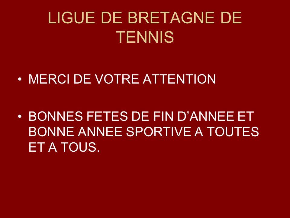 LIGUE DE BRETAGNE DE TENNIS MERCI DE VOTRE ATTENTION BONNES FETES DE FIN DANNEE ET BONNE ANNEE SPORTIVE A TOUTES ET A TOUS.