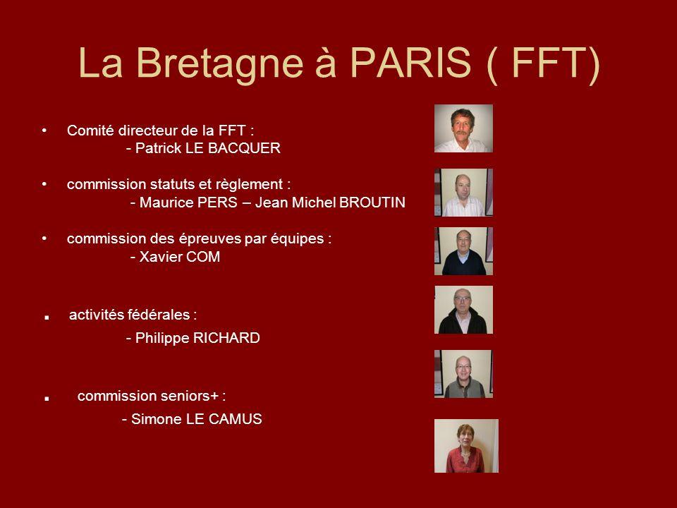 La Bretagne à PARIS ( FFT) Comité directeur de la FFT : - Patrick LE BACQUER commission statuts et règlement : - Maurice PERS – Jean Michel BROUTIN co