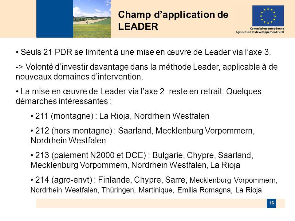 16 Champ dapplication de LEADER Seuls 21 PDR se limitent à une mise en œuvre de Leader via laxe 3.