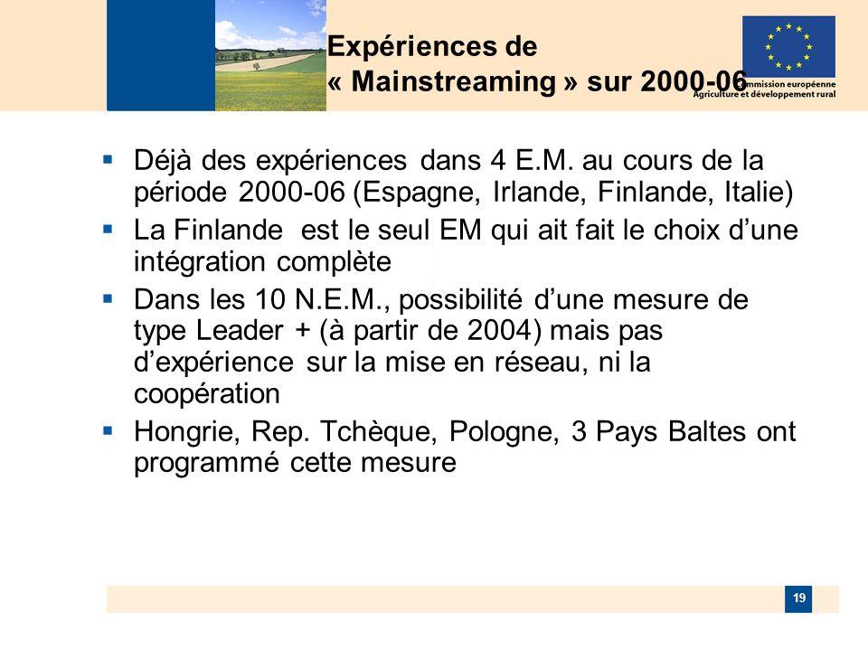 19 Expériences de « Mainstreaming » sur 2000-06 Déjà des expériences dans 4 E.M.