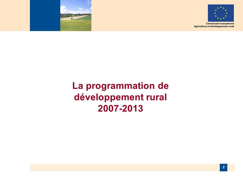 3 Développement rural 2007-2013 Développement rural 2007-2013 « Axe Leader » Axe 1 Compétitivité agriculture et sylviculture Axe 2 Environnement et gestion de lespace Axe 3 Diversification économique et qualité de vie Un seul système de programmation, financement, suivi et contrôle Un seul fond de développement rural