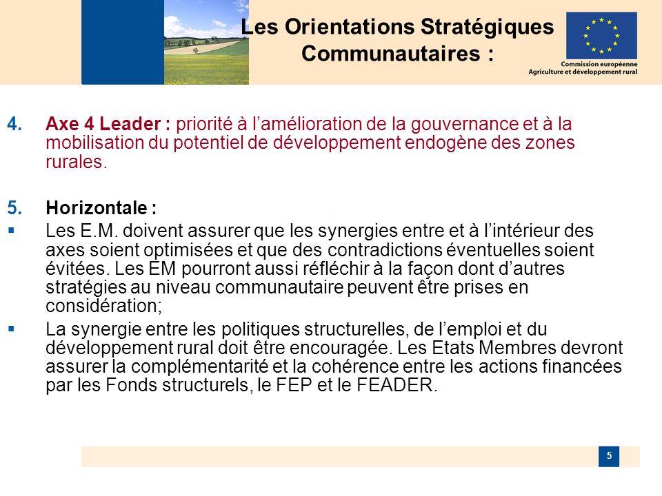 5 Axe 4 Leader : priorité à lamélioration de la gouvernance et à la mobilisation du potentiel de développement endogène des zones rurales.