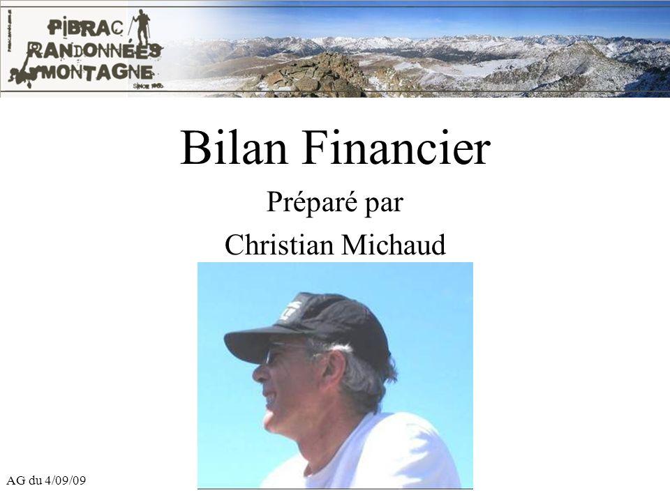 AG du 4/09/09 Bilan Financier Préparé par Christian Michaud