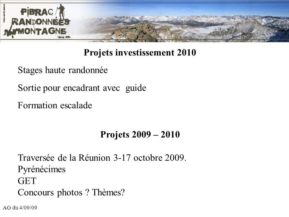 AG du 4/09/09 Projets investissement 2010 Stages haute randonnée Sortie pour encadrant avec guide Formation escalade Projets 2009 – 2010 Traversée de
