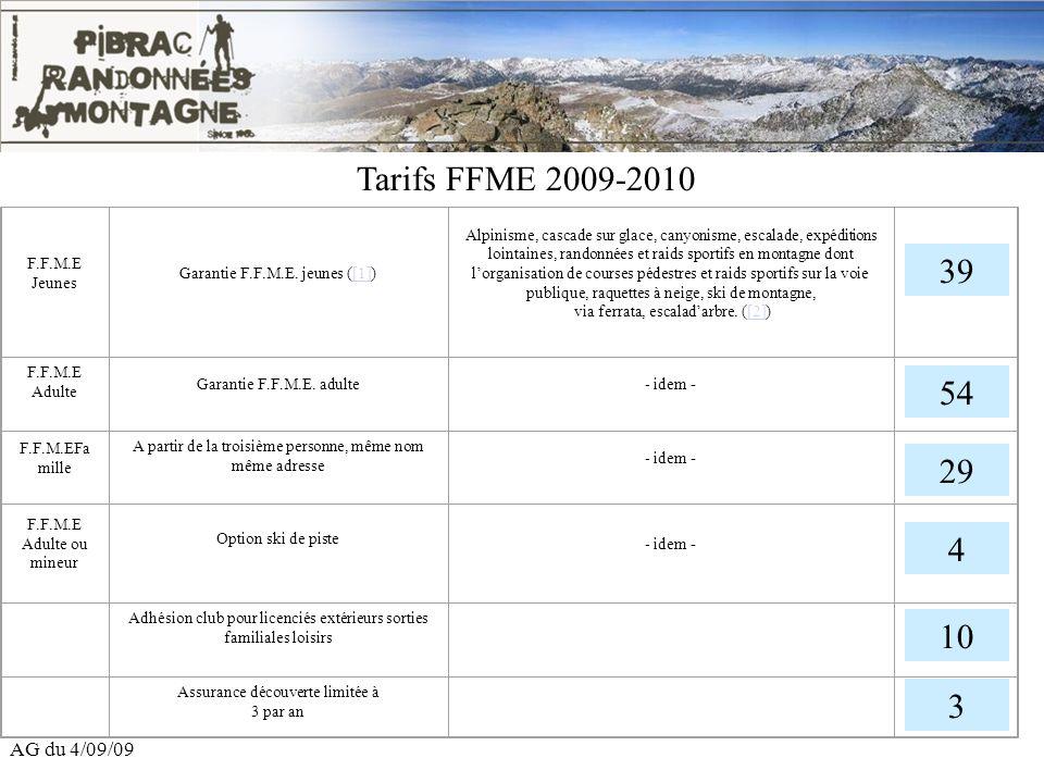 AG du 4/09/09 Tarifs FFME 2009-2010 F.F.M.E Jeunes Garantie F.F.M.E. jeunes ([1])[1] Alpinisme, cascade sur glace, canyonisme, escalade, expéditions l