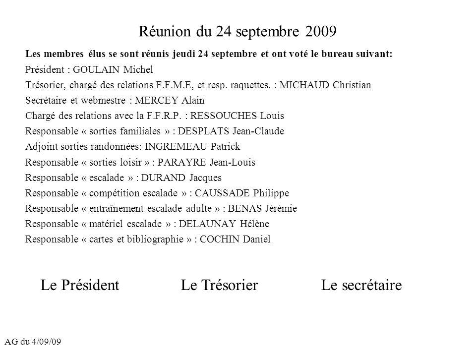 AG du 4/09/09 Réunion du 24 septembre 2009 Les membres élus se sont réunis jeudi 24 septembre et ont voté le bureau suivant: Président : GOULAIN Miche