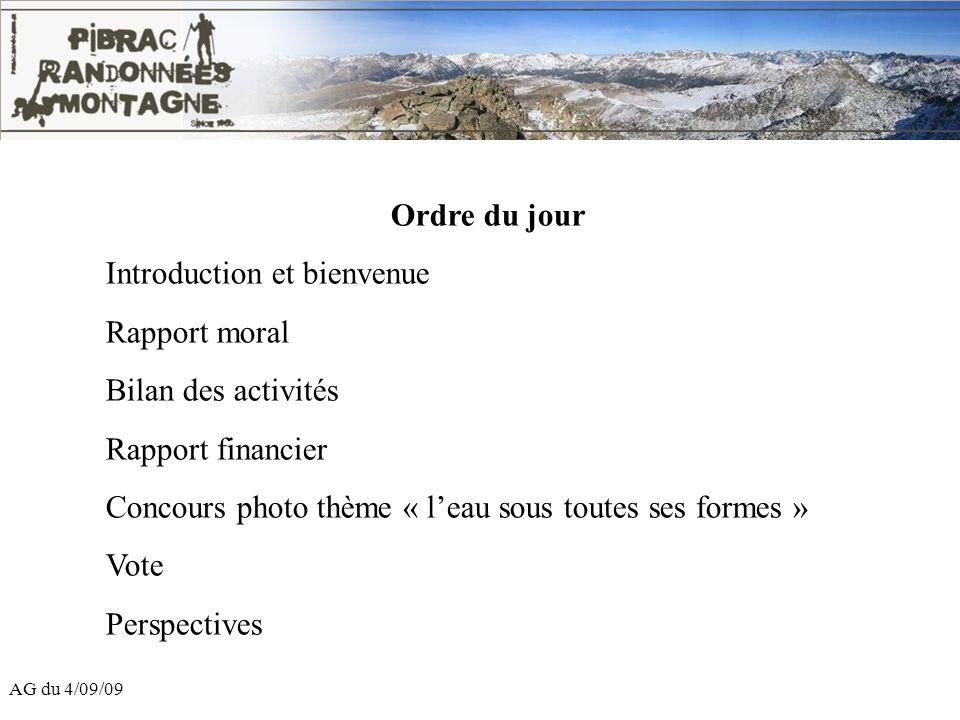 AG du 4/09/09 Ordre du jour Introduction et bienvenue Rapport moral Bilan des activités Rapport financier Concours photo thème « leau sous toutes ses