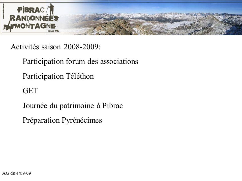 AG du 4/09/09 Activités saison 2008-2009: Participation forum des associations Participation Téléthon GET Journée du patrimoine à Pibrac Préparation P