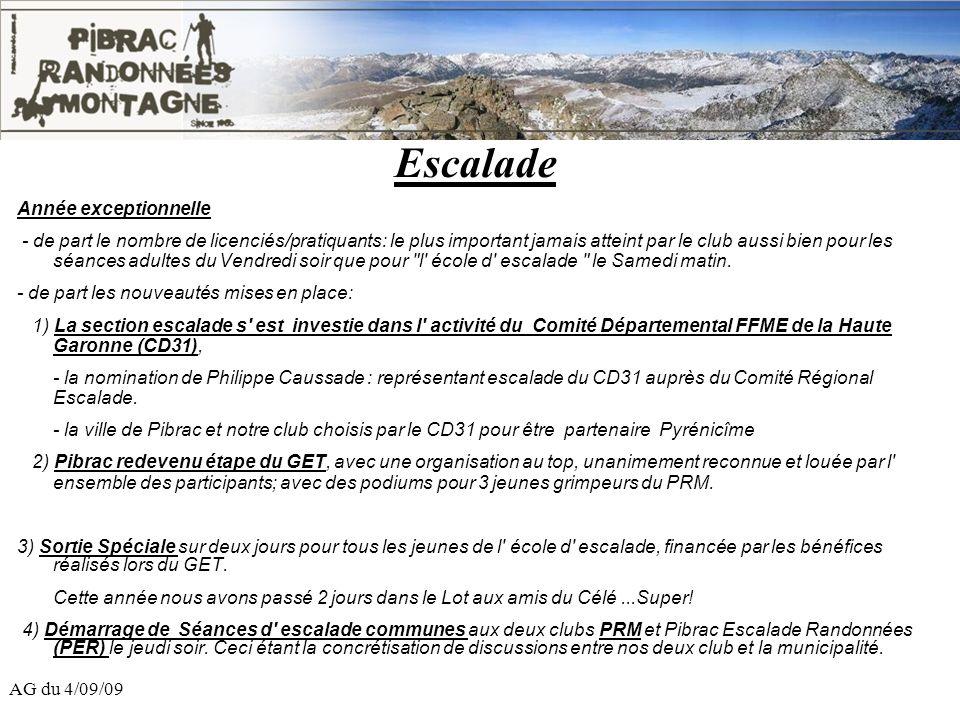AG du 4/09/09 Escalade Année exceptionnelle - de part le nombre de licenciés/pratiquants: le plus important jamais atteint par le club aussi bien pour