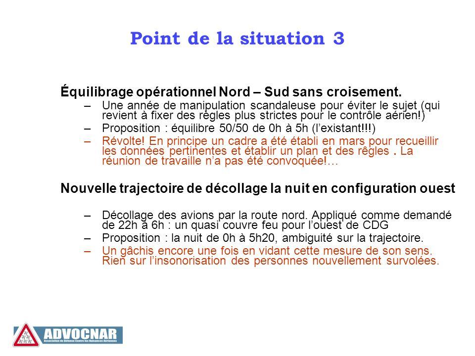 Point de la situation 3 Équilibrage opérationnel Nord – Sud sans croisement. –Une année de manipulation scandaleuse pour éviter le sujet (qui revient