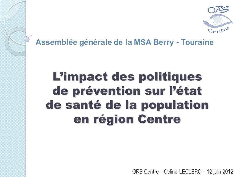 Limpact des politiques de prévention sur létat de santé de la population en région Centre ORS Centre – Céline LECLERC – 12 juin 2012 Assemblée général