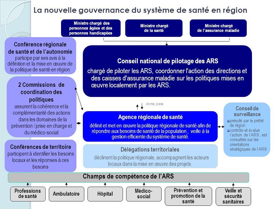 Conseil national de pilotage des ARS chargé de piloter les ARS, coordonner l'action des directions et des caisses d'assurance maladie sur les politiqu
