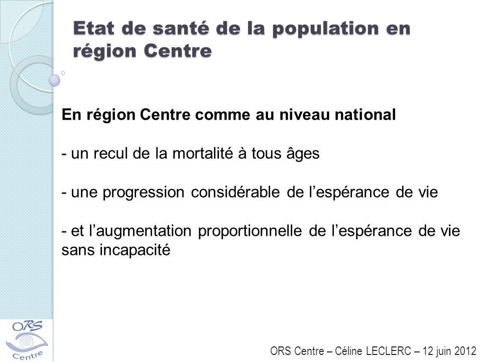 Etat de santé de la population en région Centre ORS Centre – Céline LECLERC – 12 juin 2012 En région Centre comme au niveau national - un recul de la
