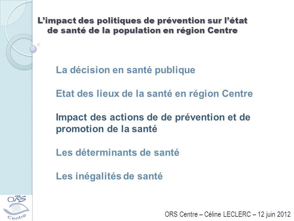 Limpact des politiques de prévention sur létat de santé de la population en région Centre ORS Centre – Céline LECLERC – 12 juin 2012 La décision en sa