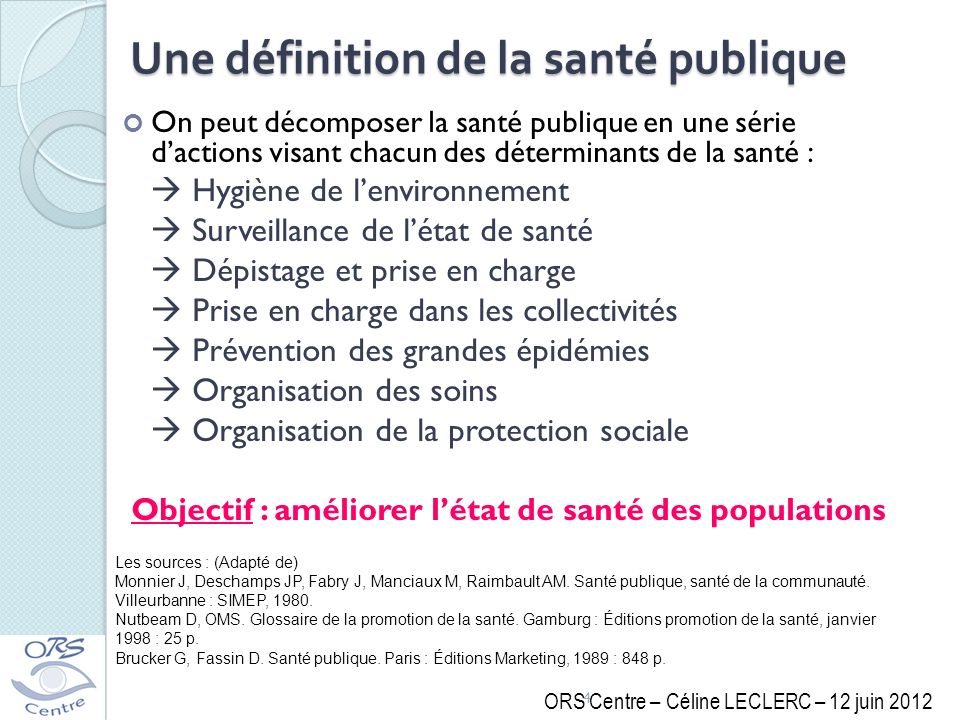 Une définition de la santé publique On peut décomposer la santé publique en une série dactions visant chacun des déterminants de la santé : Hygiène de