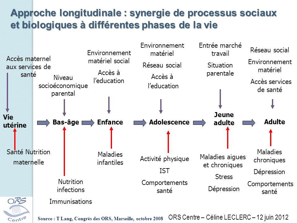 Approche longitudinale : synergie de processus sociaux et biologiques à différentes phases de la vie Vie utérine Bas-âgeEnfanceAdolescence Jeune adult