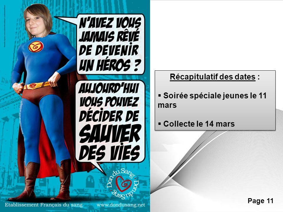Powerpoint Templates Page 11 Récapitulatif des dates : Soirée spéciale jeunes le 11 mars Collecte le 14 mars Récapitulatif des dates : Soirée spéciale