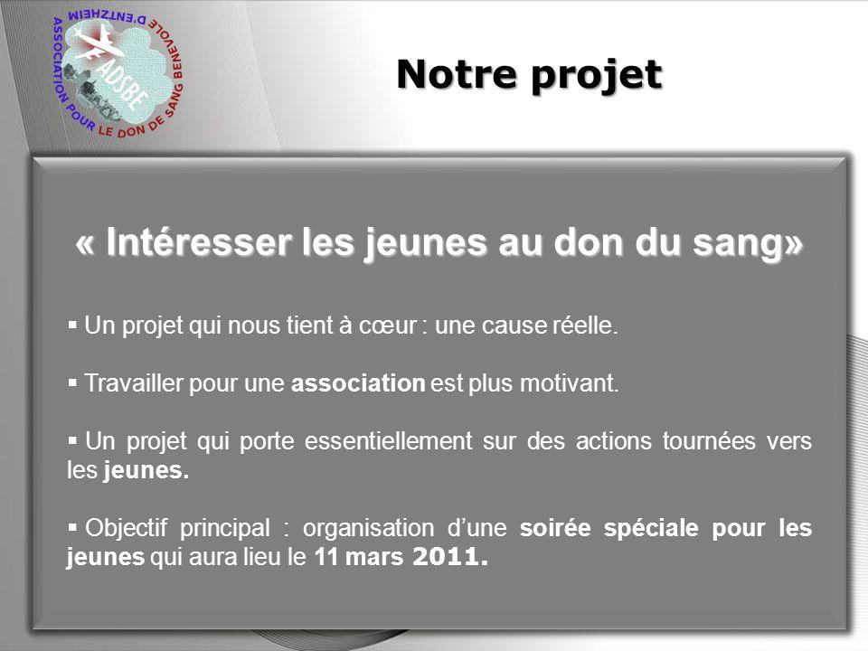 Powerpoint Templates Page 2 Notre projet « Intéresser les jeunes au don du sang» Un projet qui nous tient à cœur : une cause réelle. Travailler pour u
