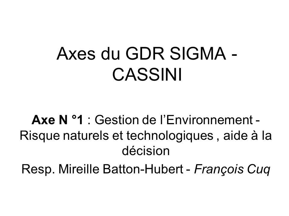 Axes du GDR SIGMA - CASSINI Axe N °1 : Gestion de lEnvironnement - Risque naturels et technologiques, aide à la décision Resp.