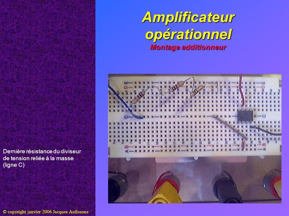 Amplificateur opérationnel Montage additionneur © copyright janvier 2006 Jacques Ardissone Dernière résistance du diviseur de tension reliée à la mass