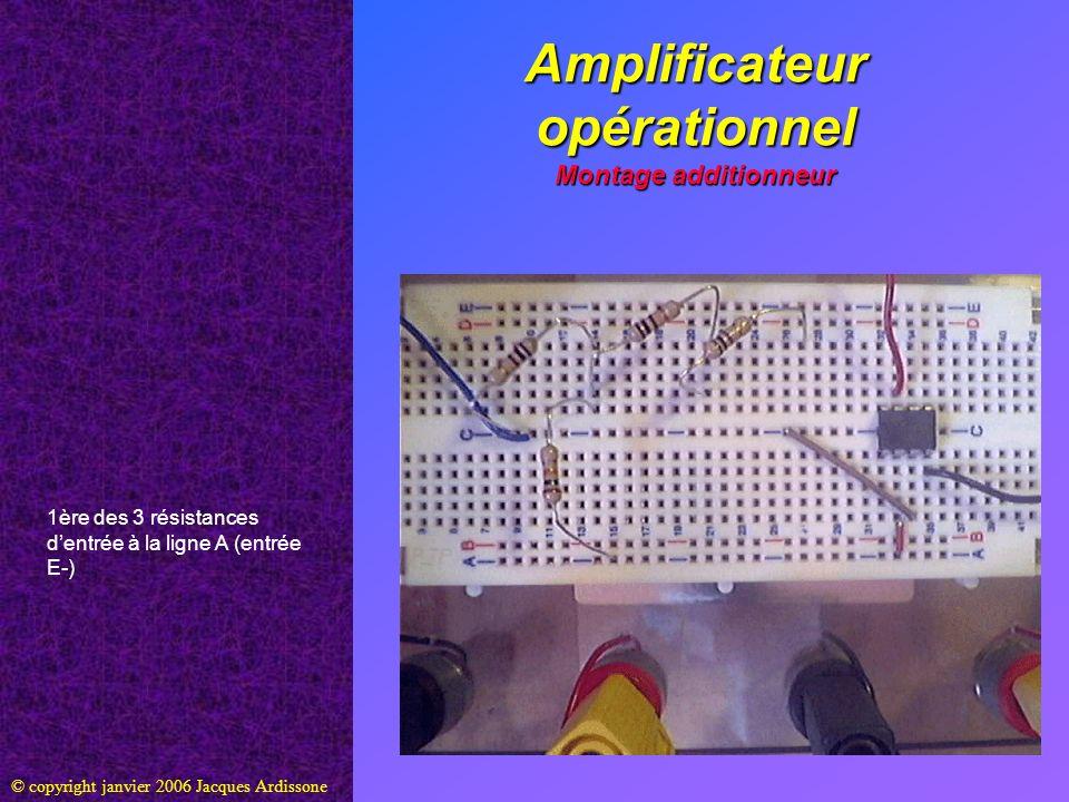 Amplificateur opérationnel Montage additionneur © copyright janvier 2006 Jacques Ardissone 1ère des 3 résistances dentrée à la ligne A (entrée E-)
