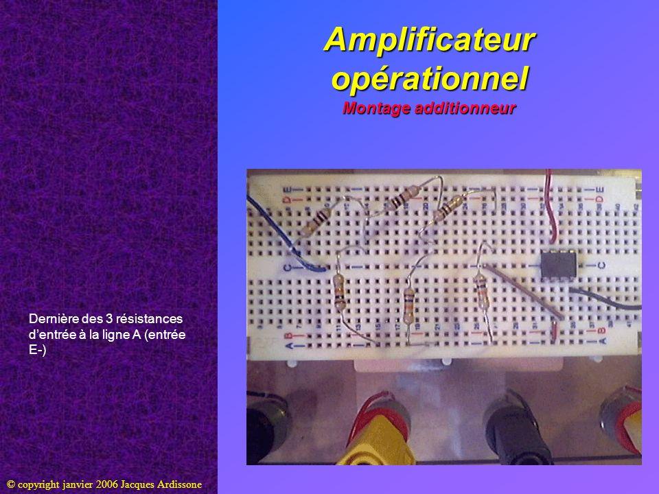 Amplificateur opérationnel Montage additionneur © copyright janvier 2006 Jacques Ardissone Dernière des 3 résistances dentrée à la ligne A (entrée E-)