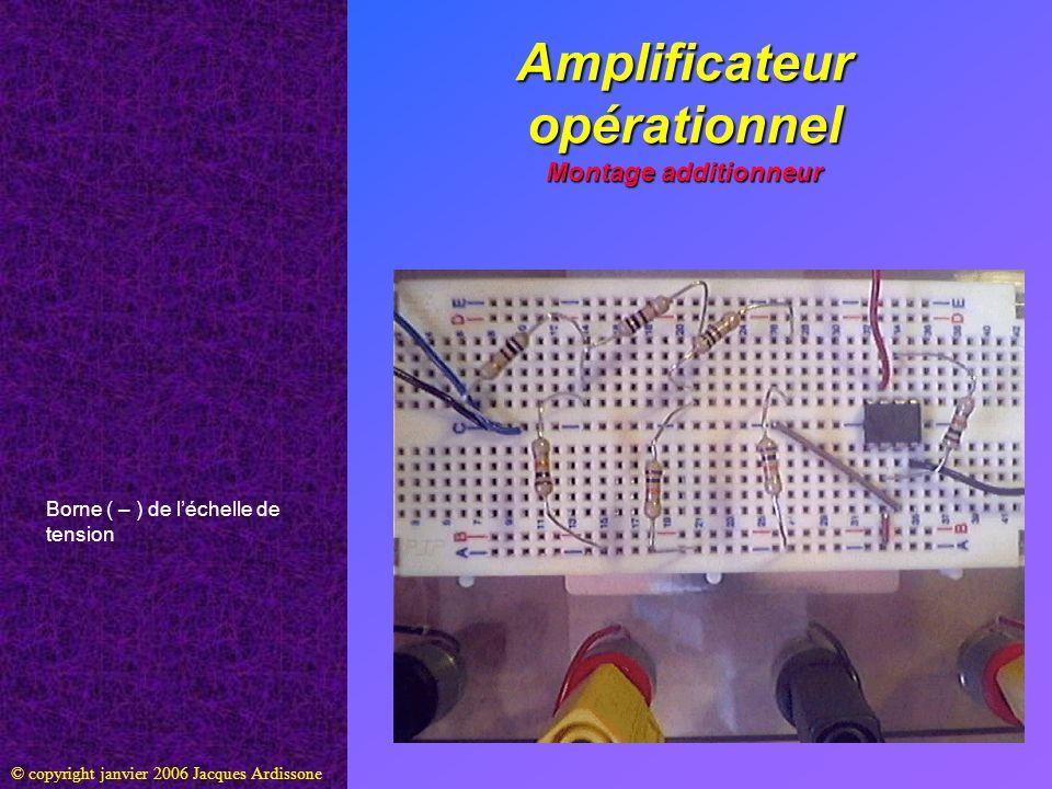 Amplificateur opérationnel Montage additionneur © copyright janvier 2006 Jacques Ardissone Borne ( – ) de léchelle de tension