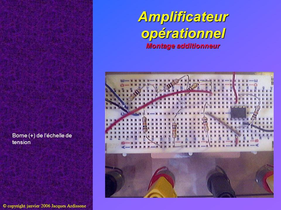 Amplificateur opérationnel Montage additionneur © copyright janvier 2006 Jacques Ardissone Borne (+) de léchelle de tension