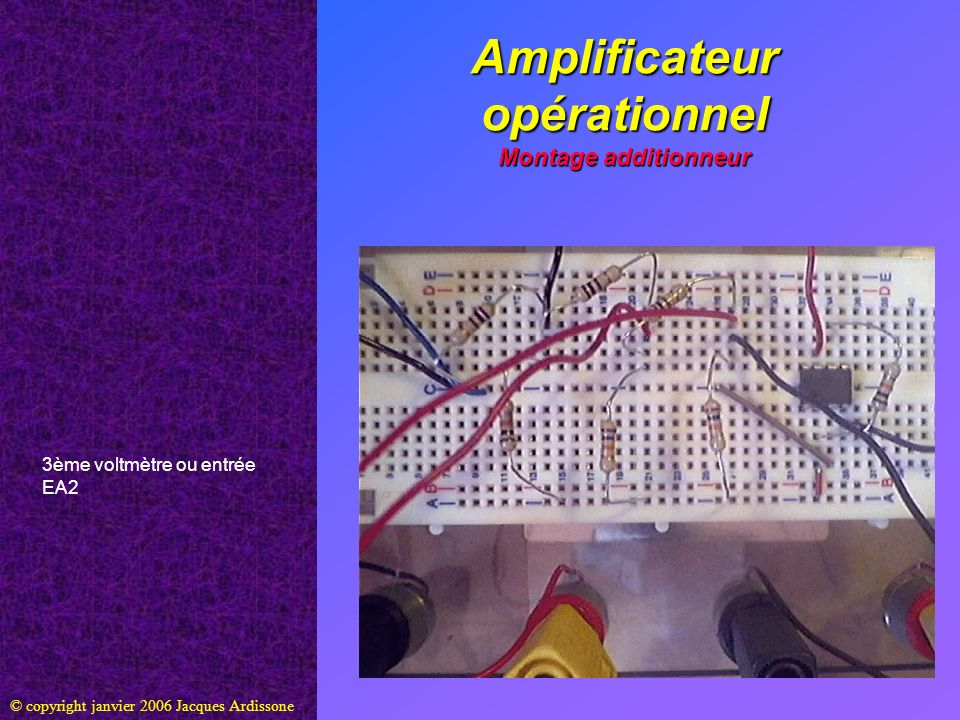 Amplificateur opérationnel Montage additionneur © copyright janvier 2006 Jacques Ardissone 3ème voltmètre ou entrée EA2