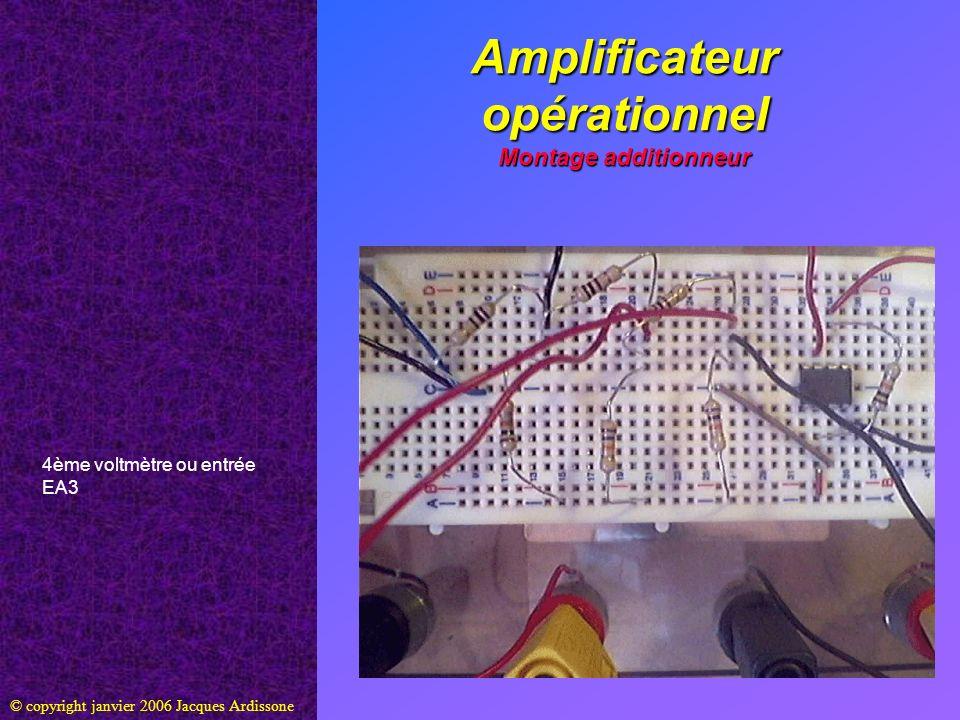 Amplificateur opérationnel Montage additionneur © copyright janvier 2006 Jacques Ardissone 4ème voltmètre ou entrée EA3