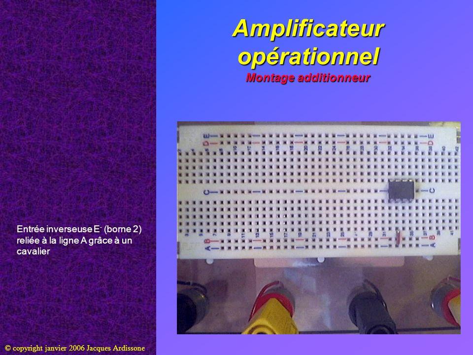Amplificateur opérationnel Montage additionneur © copyright janvier 2006 Jacques Ardissone Entrée non-inverseuse E+ (borne 3) reliée à la ligne C grâce à un cavalier