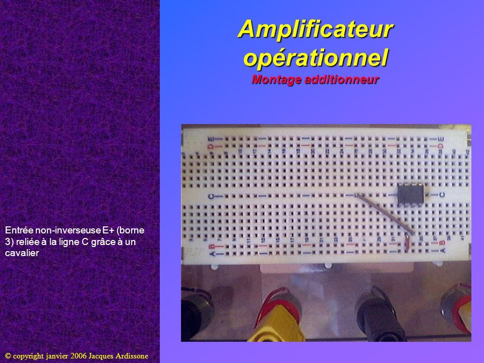 Amplificateur opérationnel Montage additionneur © copyright janvier 2006 Jacques Ardissone Entrée non-inverseuse E+ (borne 3) reliée à la ligne C grâc