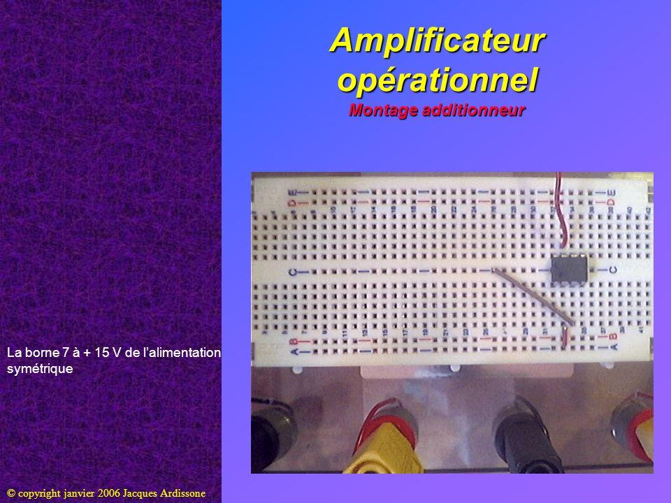 Amplificateur opérationnel Montage additionneur © copyright janvier 2006 Jacques Ardissone La borne 7 à + 15 V de lalimentation symétrique