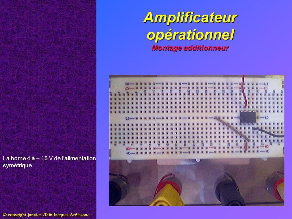 Amplificateur opérationnel Montage additionneur © copyright janvier 2006 Jacques Ardissone La borne 4 à – 15 V de lalimentation symétrique