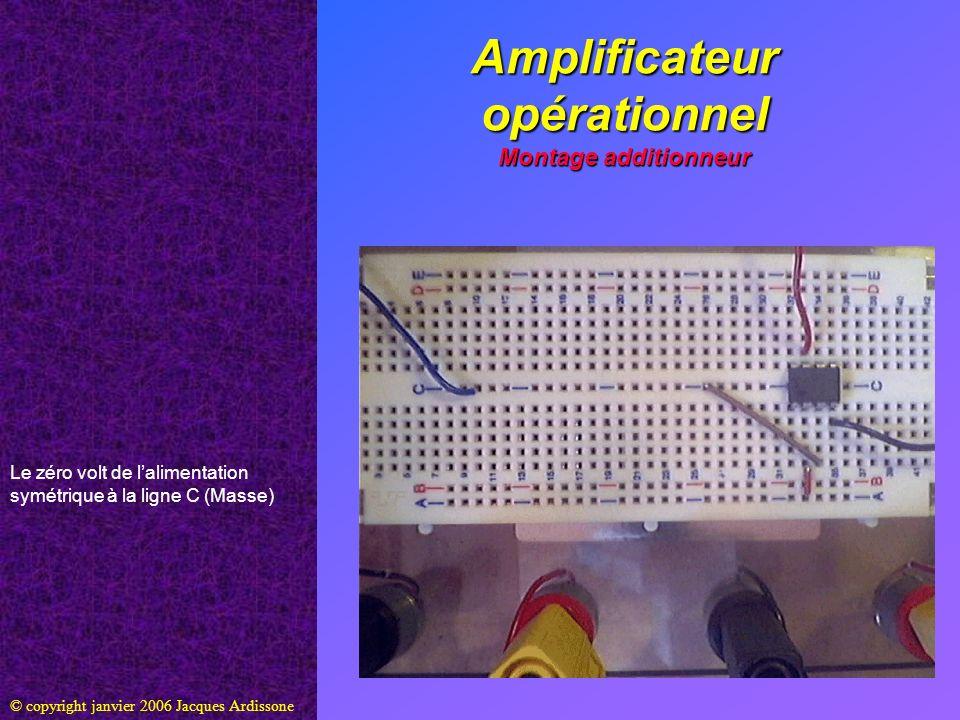 Amplificateur opérationnel Montage additionneur © copyright janvier 2006 Jacques Ardissone Le zéro volt de lalimentation symétrique à la ligne C (Mass