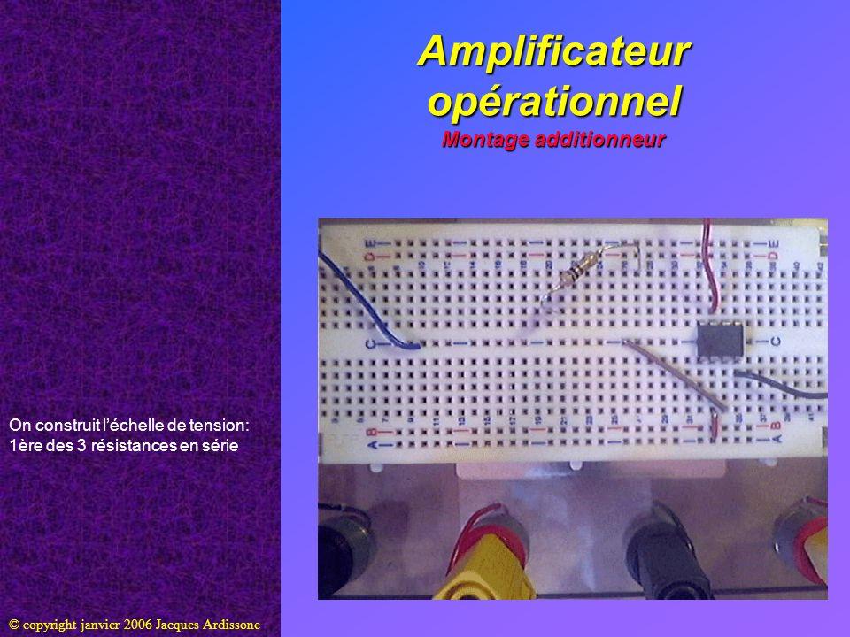 Amplificateur opérationnel Montage additionneur © copyright janvier 2006 Jacques Ardissone On construit léchelle de tension: 1ère des 3 résistances en