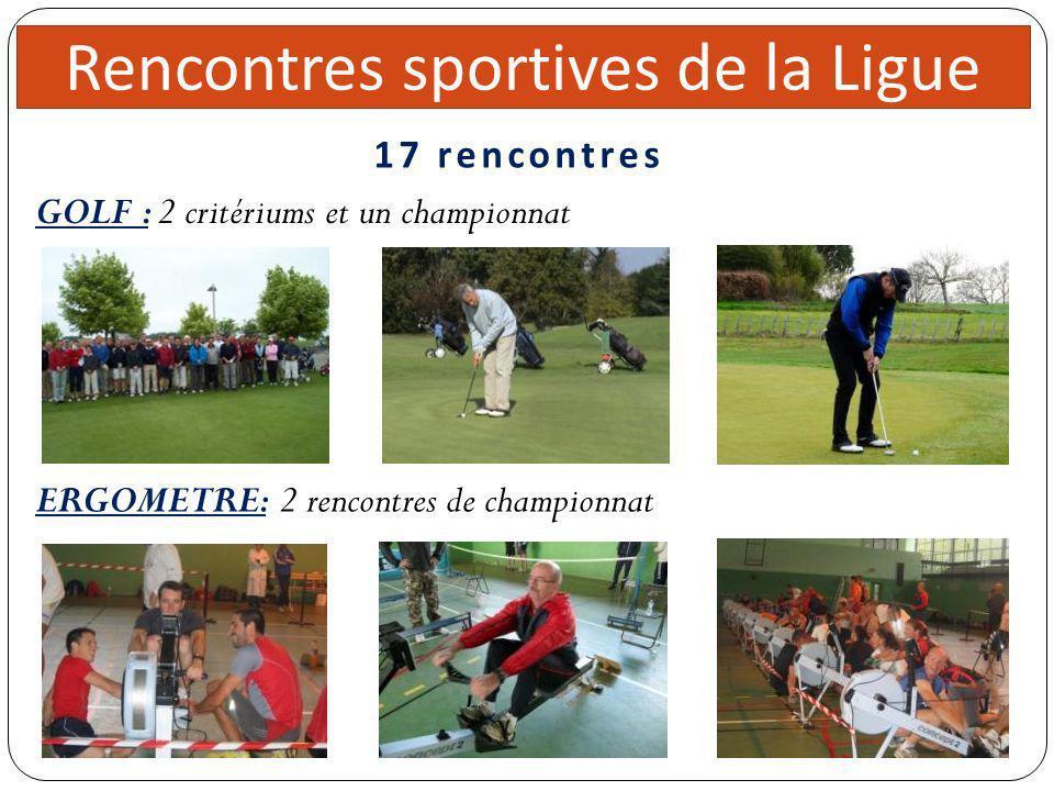 Direc teur 5 réunions Rencontres sportives de la Ligue GOLF : 2 critériums et un championnat 17 rencontres ERGOMETRE: 2 rencontres de championnat