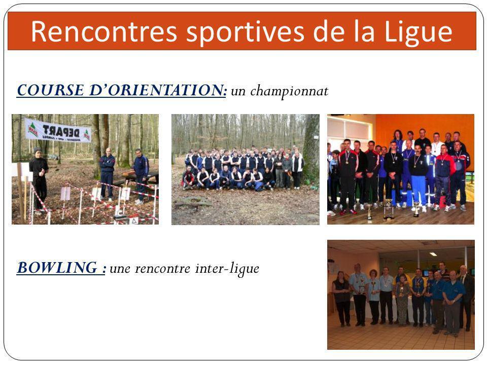 Direc teur 5 réunions Rencontres sportives de la Ligue COURSE DORIENTATION: un championnat BOWLING : une rencontre inter-ligue