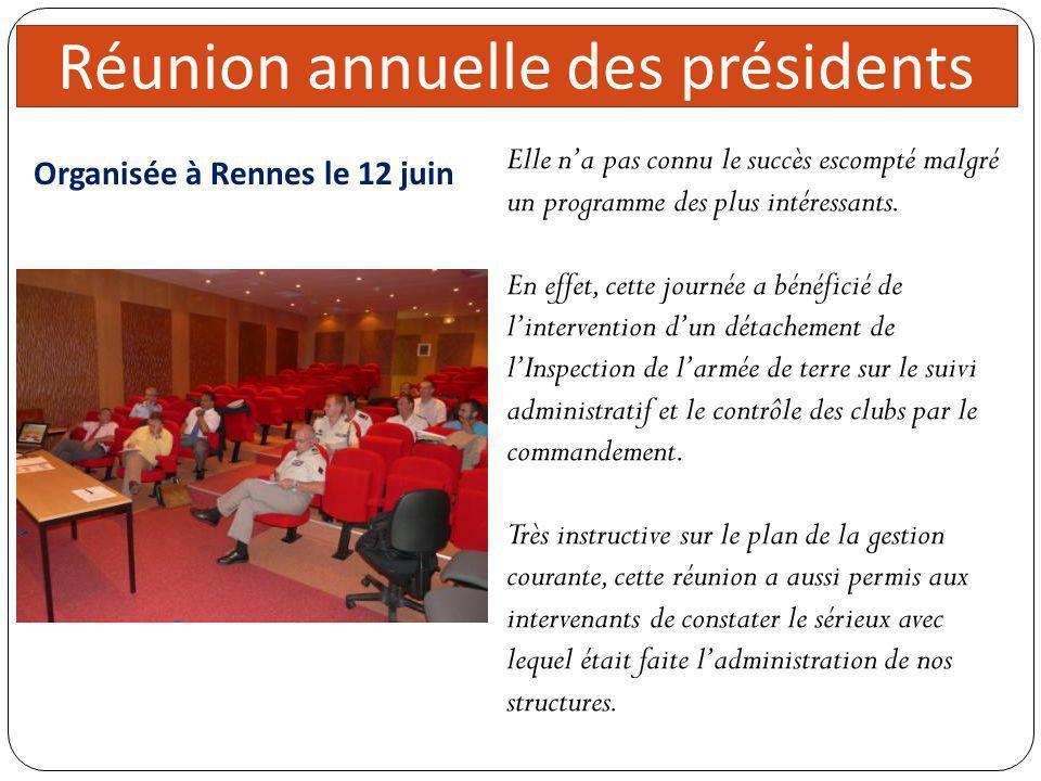 directeur 5 réunions Organisée à Rennes le 12 juin Réunion annuelle des présidents Elle na pas connu le succès escompté malgré un programme des plus i