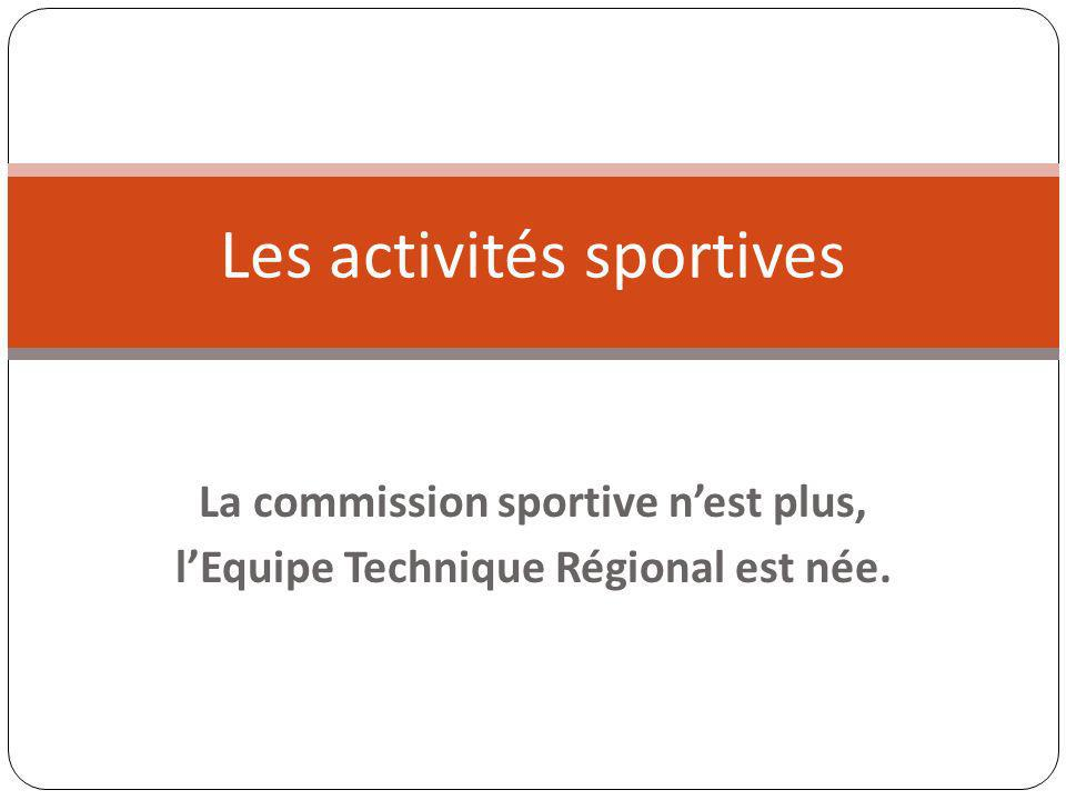 La commission sportive nest plus, lEquipe Technique Régional est née. Les activités sportives