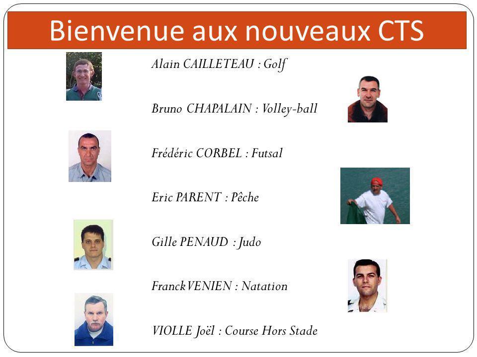 Bienvenue aux nouveaux CTS Alain CAILLETEAU : Golf Bruno CHAPALAIN : Volley-ball Frédéric CORBEL : Futsal Eric PARENT : Pêche Gille PENAUD : Judo Fran