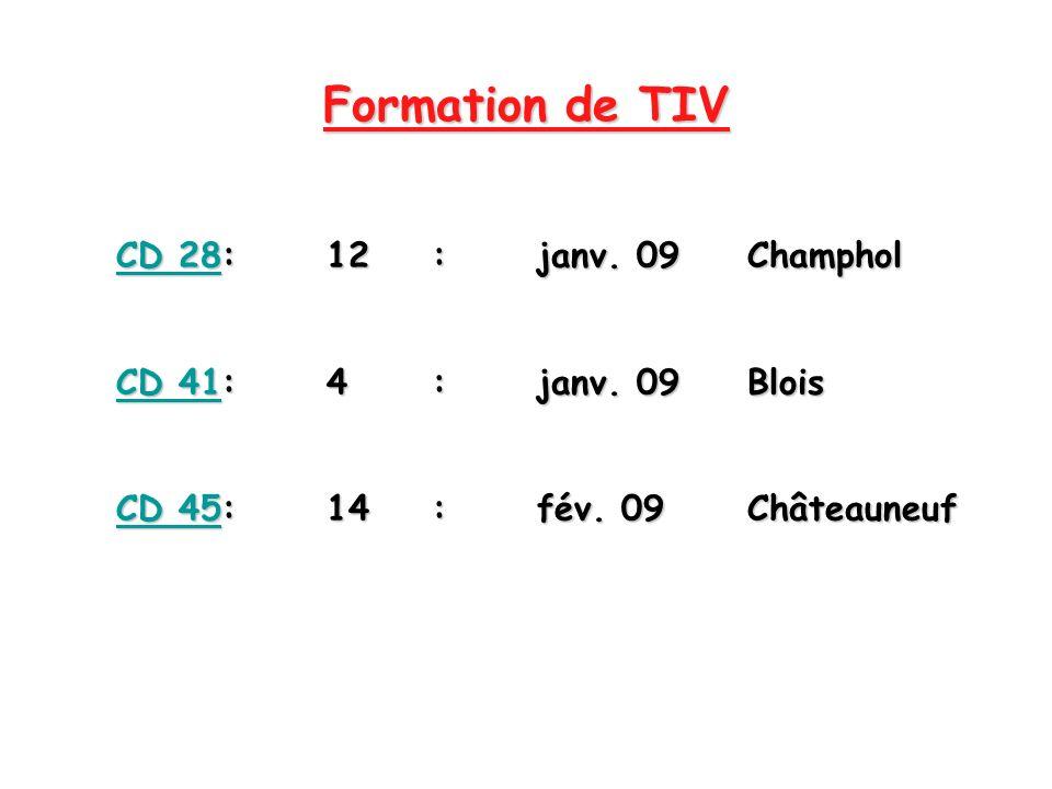 Formation de TIV CD 28:12:janv. 09Champhol CD 28:12: janv. 09Champhol CD 41:4:janv. 09Blois CD 41:4: janv. 09Blois CD 45:14:fév. 09Châteauneuf