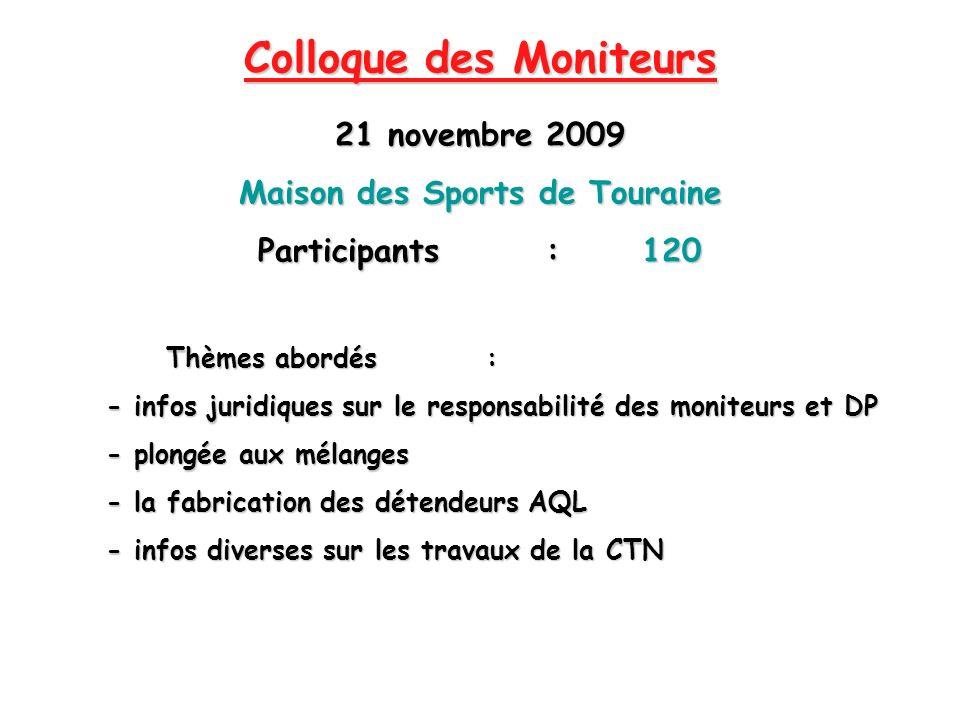 Colloque des Moniteurs 21 novembre 2009 Maison des Sports de Touraine Participants:120 Thèmes abordés : Thèmes abordés : - infos juridiques sur le res