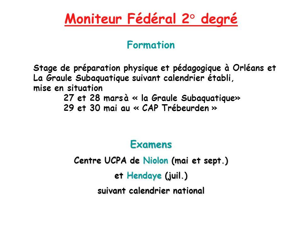Moniteur Fédéral 2° degré Formation Stage de préparation physique et pédagogique à Orléans et La Graule Subaquatique suivant calendrier établi, mise e