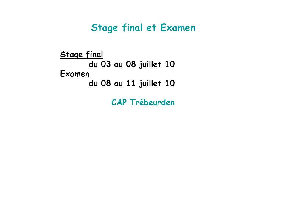 Stage final et Examen Stage final du 03 au 08 juillet 10 Examen du 08 au 11 juillet 10 CAP Trébeurden