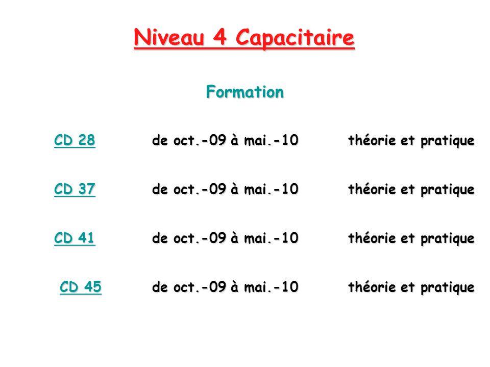 Niveau 4 Capacitaire Formation CD 28de oct.-09 à mai.-10théorie et pratique CD 37de oct.-09 à mai.-10théorie et pratique CD 41de oct.-09 à mai.-10théo